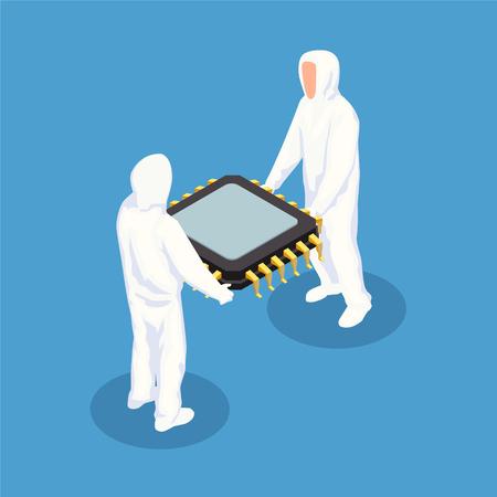 Halbleiter-isometrisches Designkonzept mit zwei Männern in weißer Schutzkleidung, die eine große Prozessoreinheit-Vektorillustration halten