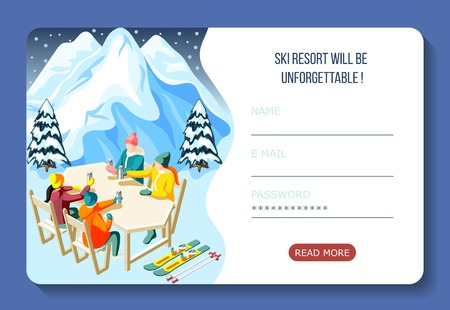 Ski resort isometric landing page with skiers during drinking hot beverage and user account interface vector illustration Illustration