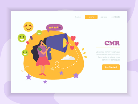 CRM customer relationship management background with cartoon style images decorative artwork symbols with get started button vector illustration