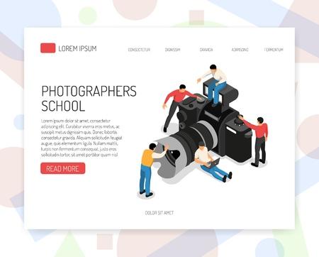 La progettazione isometrica della pagina del sito Web della scuola online di educazione fotografica con le classi offre agli studenti e all'illustrazione di vettore del simbolo della macchina fotografica
