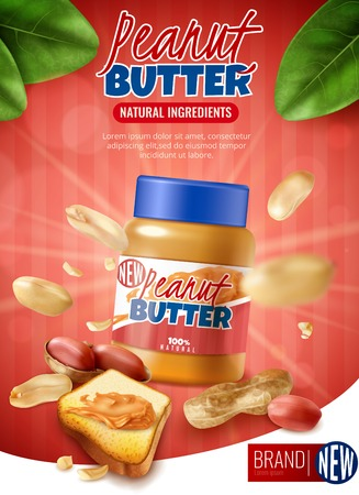 Realistic peanut butter vertical poster ads with branded jar and arachis beans with shell and text vector illustration
