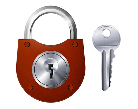 New red padlock and metallic key isolated decorative icons on white background realistic vector illustration