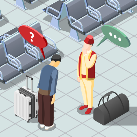 Two men from japan greeting each other isometric background 3d vector illustration