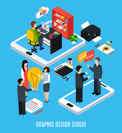 Isometric concept with graphic design studio artists and tools for work 3d isolated vector illustration