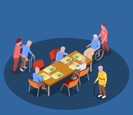 Assistenza agli anziani nel poster isometrico della casa di cura con i residenti che si incontrano nella sala da pranzo con l'aiuto dell'illustrazione vettoriale dei loro custodi