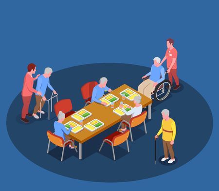 Elderly care in nursing home isometric poster with residents meeting in dining room with help of their caretakers vector illustration Illustration