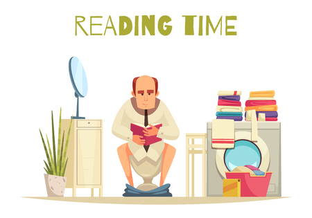 Reading time in toilet background with washing machine flat vector illustration