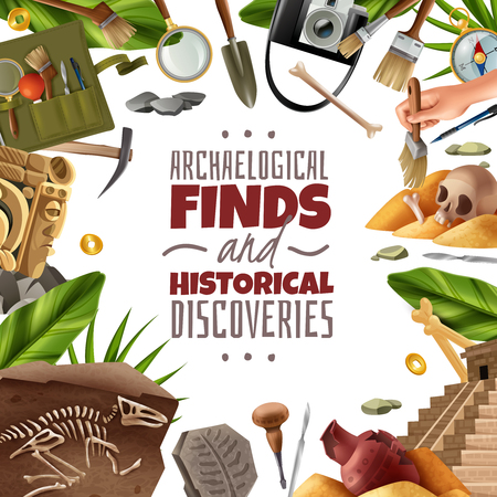 Archeology frame background with round composition of digging equipment artefacts and findings surrounding ornate editable text vector illustration Çizim
