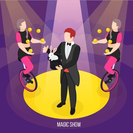 Pokaz magii ulicznych artystów zaklinacza kompozycji izometrycznych podczas żonglerów sztuczek i dziewcząt na ilustracji wektorowych monocykli