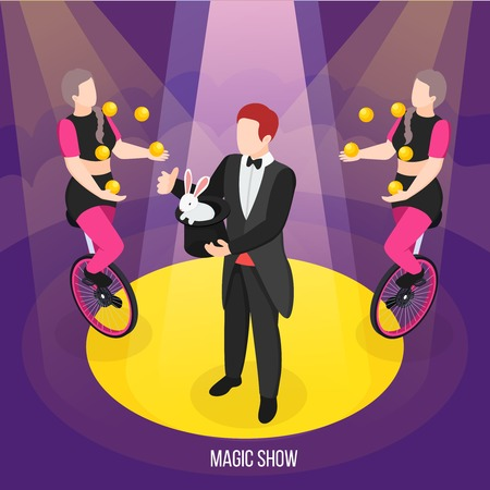 Magic show of street artists isometric composition conjurer during trick and girls jugglers on unicycles vector illustration