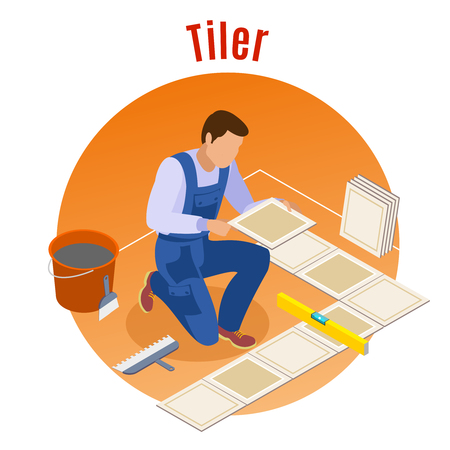 Craftsman home repair and remodeling isometric decorative round background composition with floor tiler at work   vector illustration Illustration