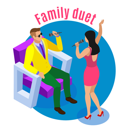 Karaoke isometric background with couple of male and female human characters singing songs with editable text vector illustration