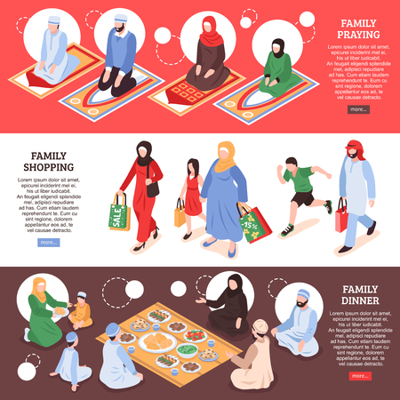 Arab family horizontal banners set with shoping and office symbols isometric isolated vector llustration