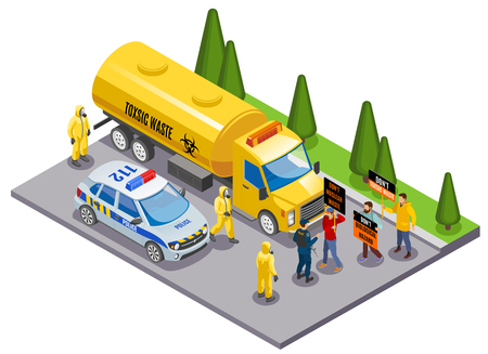 Toxic waste disposal danger awareness isometric composition with environmental activists stopping truck transporting hazardous materials vector illustration