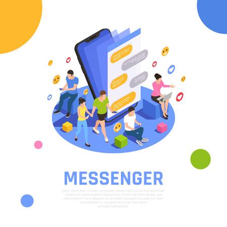 메신저 응용 프로그램이 스마트폰 화면에서 열리고 사용자 벡터 일러스트레이션을 통신하는 소셜 미디어 네트워크 아이소메트릭 구성