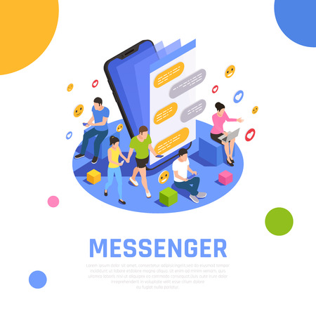 Social media network isometric composition  with messenger applications open on smartphone screen and communicating users vector illustration