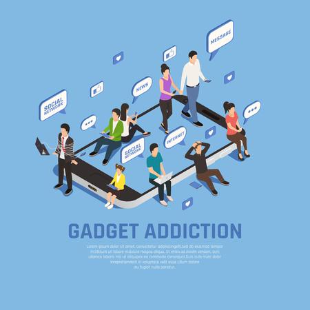 Fondo de composición isométrica de adicción a gadgets de teléfonos inteligentes de Internet con imágenes de burbujas de pensamiento de teléfonos inteligentes y personajes de personas ilustración vectorial