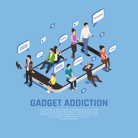 Internet smartphone gadget addiction isometric composition background with images of smartphone thought bubbles and people characters vector illustration