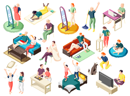 People during various activity at home on weekend set of isometric icons isolated vector illustration
