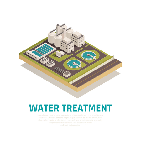 Sewage water cleaning treatment plant isometric composition with settling basins filtration separation oxidation  purification facilities vector illustration