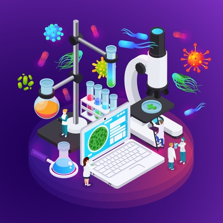 Microbiology isometric poster illustrated equipment of science laboratory for research of bacteria and virus structures vector illustration