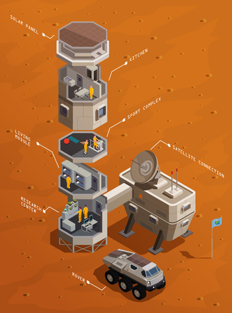 Mars colonization isometric composition with Infrastructure of communication base including residential compartments research center and satellite connection vector illustration 免版税图像 - 113845031
