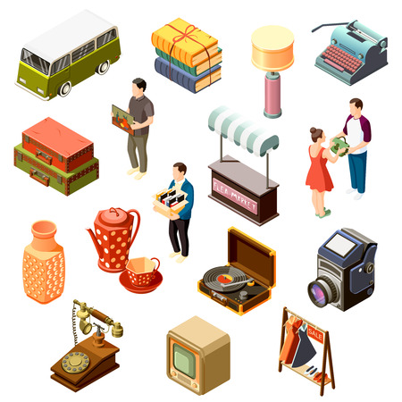 Isometric set of icons with various goods from flea market and customers isolated on white background 3d vector illustration Illustration