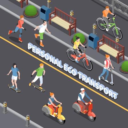 Composición de transporte ecológico personal con símbolos de movilidad personal ilustración vectorial isométrica Ilustración de vector
