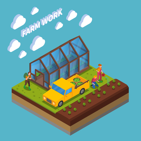 Farm work isometric composition growing of vegetable in green house and in field blue background vector illustration Vettoriali
