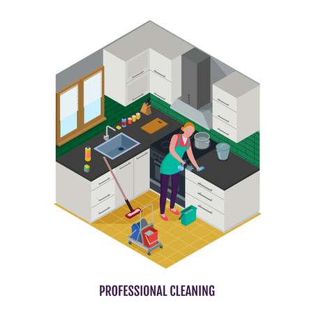 Woman worker in apron with detergents and equipment during professional cleaning of kitchen isometric vector illustration Illustration