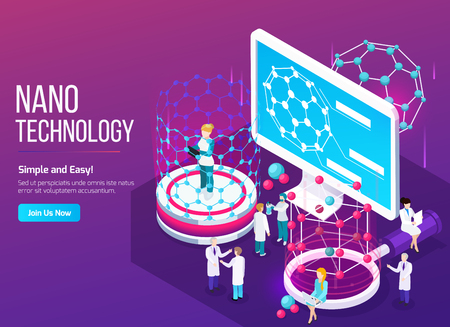 Nanotechnology isometric composition with scientists in working process and screen with 3d fullerene structure vector illustration Фото со стока - 113845033