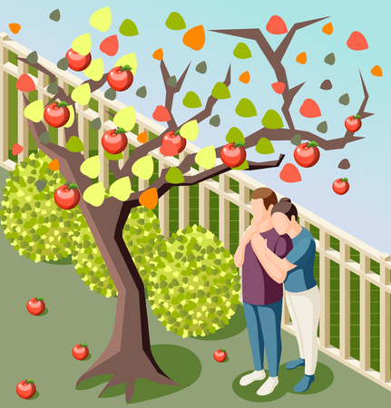Happy couple hugging under apple tree isometric composition poster outdoor autumn day harvest garden background vector illustration Illustration