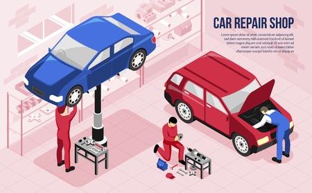 Mechanics with professional tools during work in car repair shop isometric horizontal vector illustration Vetores