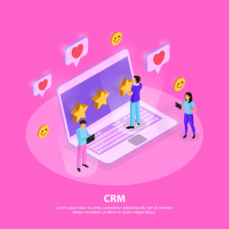CRM system composition with customers laptop elements of loyalty and rating on pink background isometric vector illustration Banque d'images - 126815881