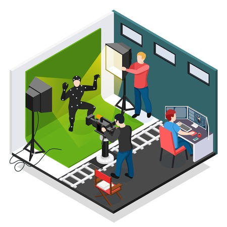 Cinema motion capture isometric composition with actor videographer illuminator and graphic designer during work vector illustration