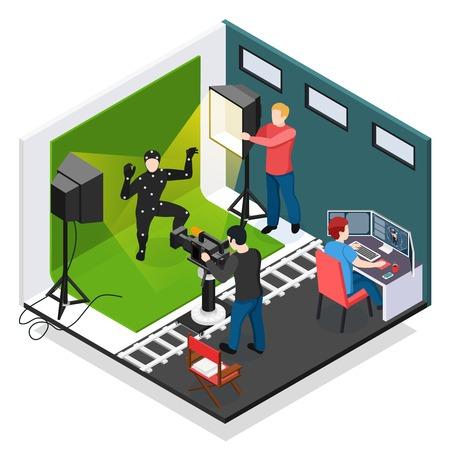 Isometrische Komposition für Cinema Motion Capture mit Schauspieler-Videograf-Illuminator und Grafikdesigner während der Arbeitsvektorillustration Vektorgrafik