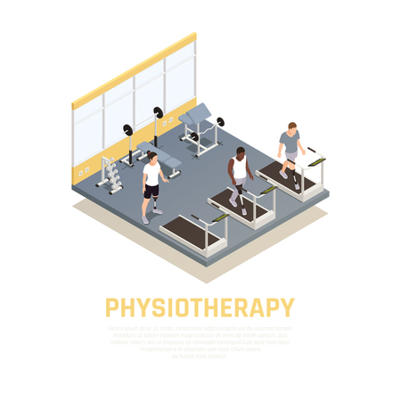 Disabled rehabilitation clinic isometric composition with training equipment for injured amputees with leg prothesis physiotherapy vector illustration