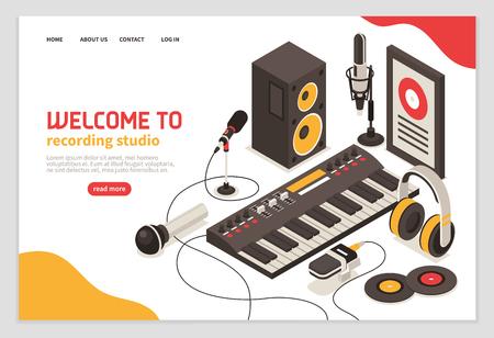 Bienvenido al cartel de estudio de grabación con instrumentos musicales, micrófonos, auriculares, amplificador, disco compacto, iconos isométricos, ilustración vectorial