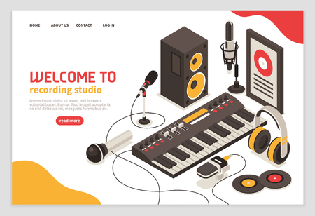 Welcome to recording studio poster with musical instruments microphones headphones amplifier compact disc isometric  icons vector illustration Illustration