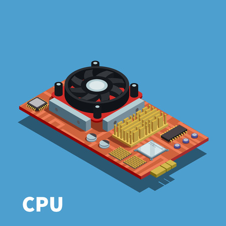 Semiconductor isometric poster demonstrated printed circuit board with central processing unit and cooling system vector illustration