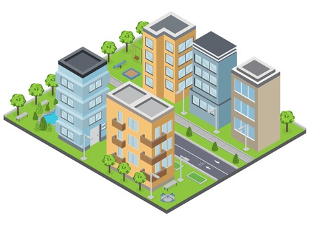 Suburbia buildings composition with lawns apartments and streets isometric vector illustration Illustration