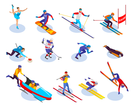 Winter sports isometric icons set of  snowboarding slalom curling freestyle figure skating ice hockey biathlon isometric vector illustration Illustration
