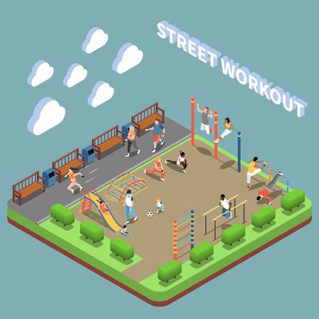 Personajes humanos y área de entrenamiento en la calle con composición isométrica del terreno de juego en la ilustración de vector de fondo turquesa Ilustración de vector