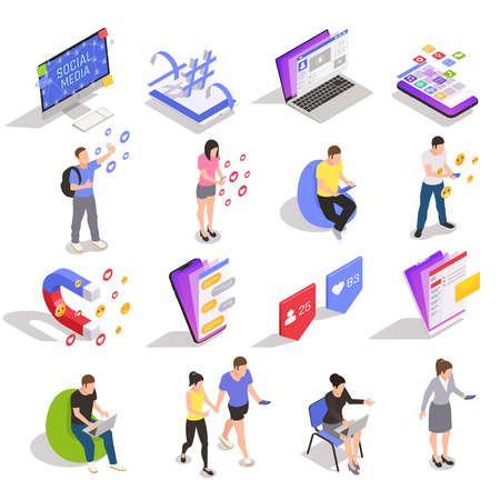 Social media symbols technology messaging people isometric icons collection with devices websites applications users isolated vector illustration