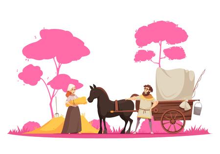 Personajes humanos y antiguo caballo de transporte terrestre rural con carro en árboles ilustración de vector de dibujos animados de fondo