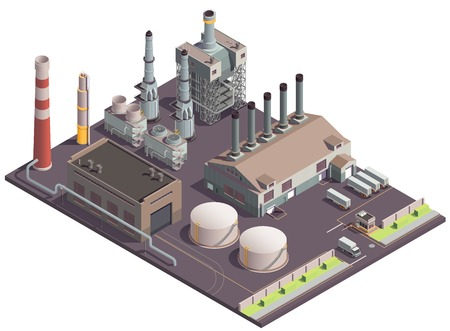 Industrial buildings isometric composition with plant area scenery factory facilities huge fabric buildings and transport units vector illustration