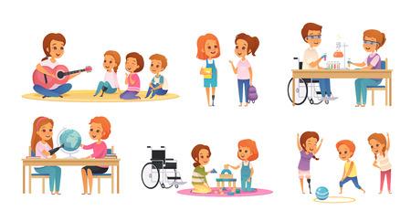 Set di icone per l'educazione inclusiva di inclusione colorata e dei cartoni animati con bambini disabili che impara e gioca