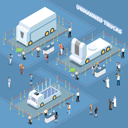 Autonomous car driverless vehicle robotic transport isometric composition with unmanned trucks on automobile exhibition with people vector illustration Ilustração
