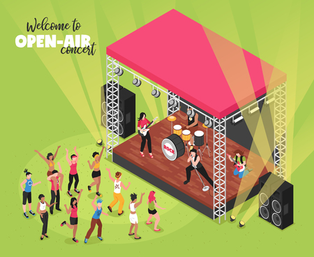 Outdoor music concert isometric vector illustration with rock band on stage and viewers in fan zone