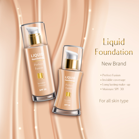 Realistic liquid foundation in glass vials advertising composition of cosmetics product on beige sparkling background vector illustration